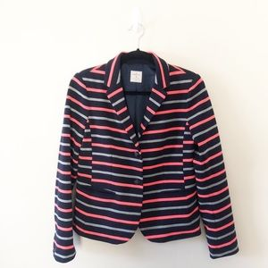 Gap Academy Blazer Ponte Navy Coral Gray Striped